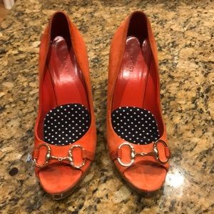 Authentic orange Gucci Open toed